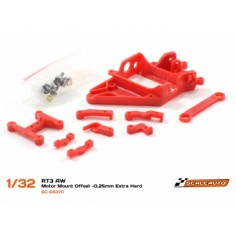 SCALEAUTO SOPORTE MOTOR AW RT3 OFFSET -0.25 MM EXTRA-HARD (ROJO)
