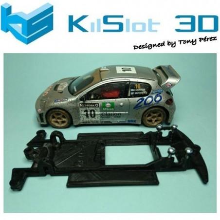 KILSLOT KS-CP2B CHASIS 3D LINEAL BLACK PEGEOT 206 WRC SCX