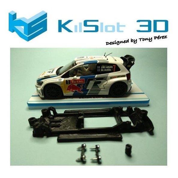 KILSLOT KS-NP1B CHASIS 3D LINEAL BLACK VOLKSWAGEN POLO WRC SUPERSLOT